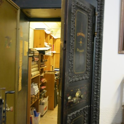 The Bank building holds an original bank safe to view that holds many archives also.